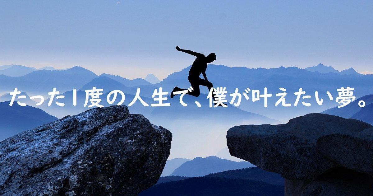 たった1度の人生で、僕が叶えたい夢。